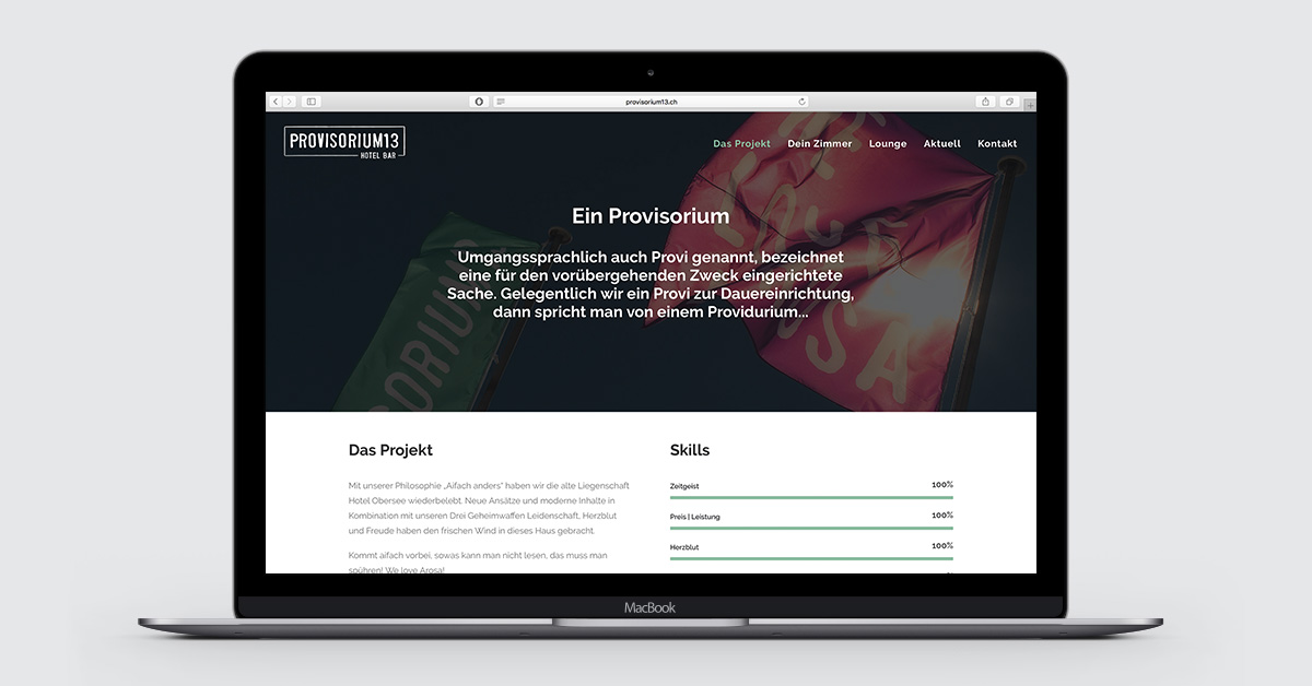Webdesign für das Hotel Provisorium13 in Arosa - provisorium13.ch